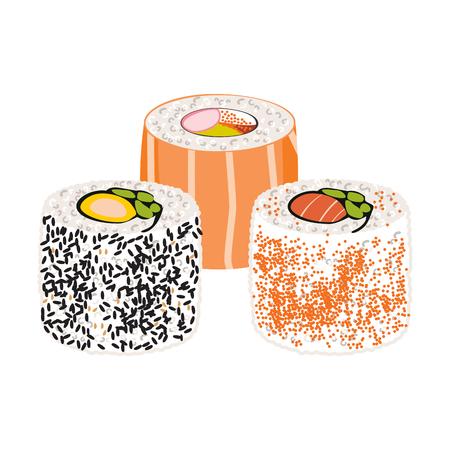 Illustration of Japanese fusion cuisine raw sushi salmon California roll Illustration