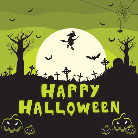 Cemetery background with green Happy Halloween text Illustration