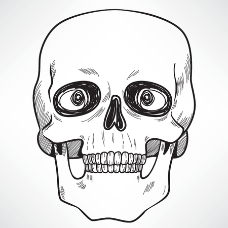 Line art illustration of scary evil menacing human skull Illustration