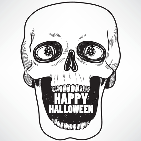 Line art illustration of laughing skull with open mouth and Happy Halloween text