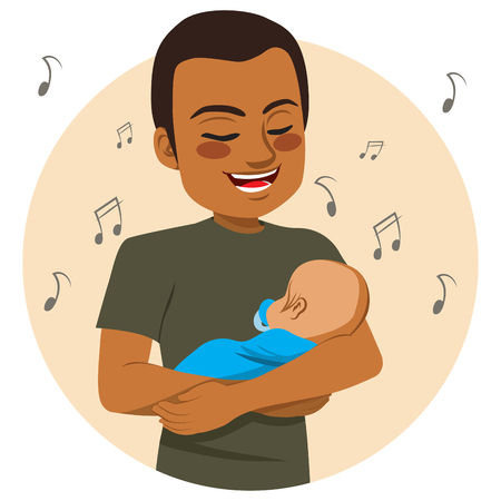 happy family: Young happy African American father rocking and singing sleeping baby lullaby Illustration