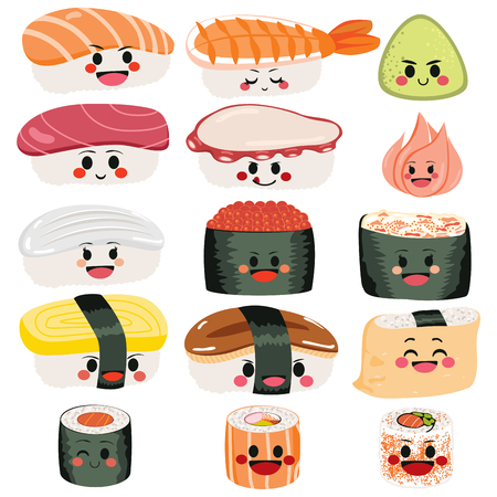 Funny cute happy sushi and sashimi character set collection