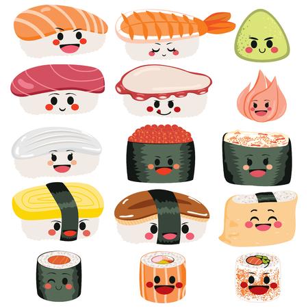 재미 있은 귀여운 행복 초밥과 사시 미 문자 집합 컬렉션