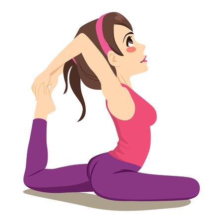 Übendes Yoga der jungen attraktiven Frau, das in einer Bein-König Pigeon-Flexibilität ausdehnt Übung sitzt