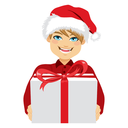 Young man holding and giving a Christmas present box Illustration