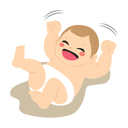 Funny cute little baby happy and excited  playing moving arms wearing diaper