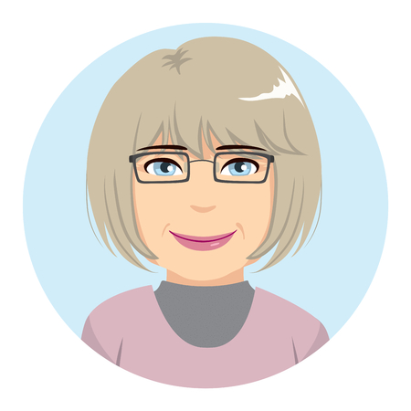 Beautiful portrait avatar of senior woman with grey hair