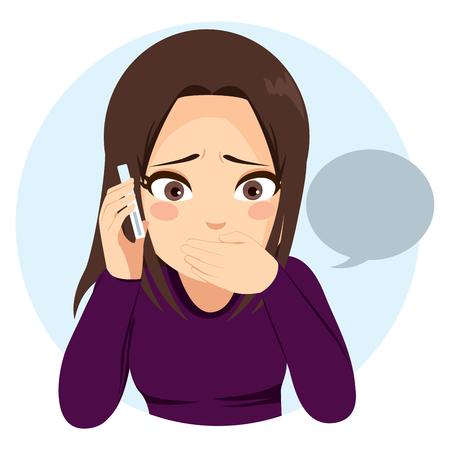 Young teenager girl talking sad and surprised with her phone Vettoriali