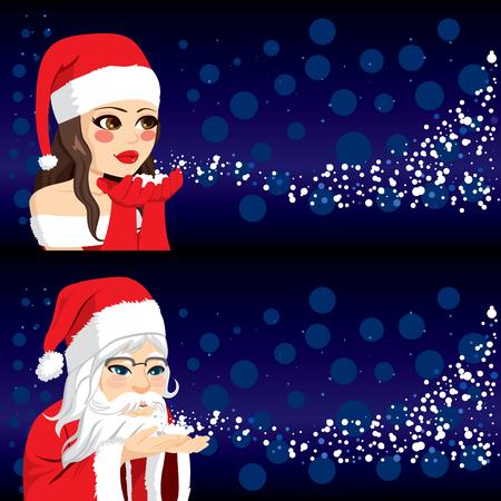 Young woman and old Santa Claus blowing magic snow vector