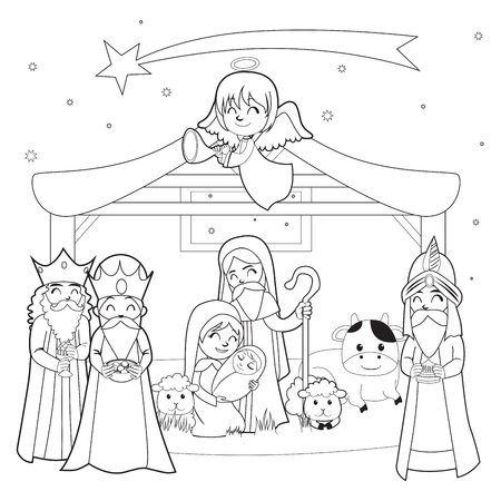 Monochrome line coloring art illustration of Nativity scene Vectores