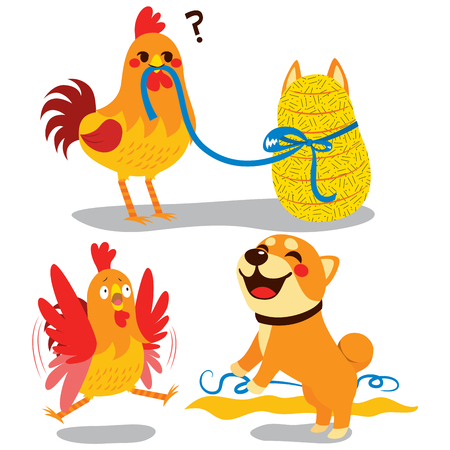 Cute rooster surprised opening wrapped gift and celebrating new year with the dog Illustration