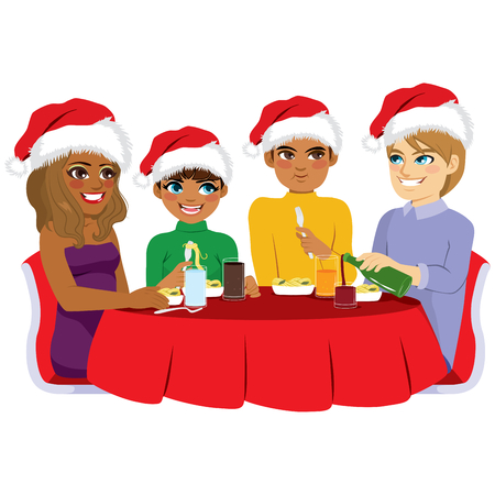 Happy Diverse Family Eating Together On Christmas Eve