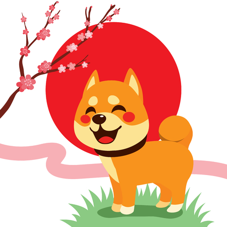 Cute Shiba Inu dog with cherry blossom blooming and red rising sun on background  イラスト・ベクター素材