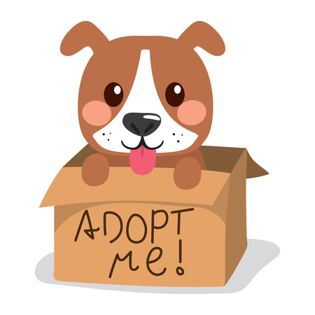 Cute little dog showing tongue inside cardboard box with adopt me text. Illustration
