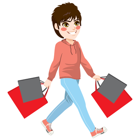 Happy young teen boy walking holding red and black shopping bags