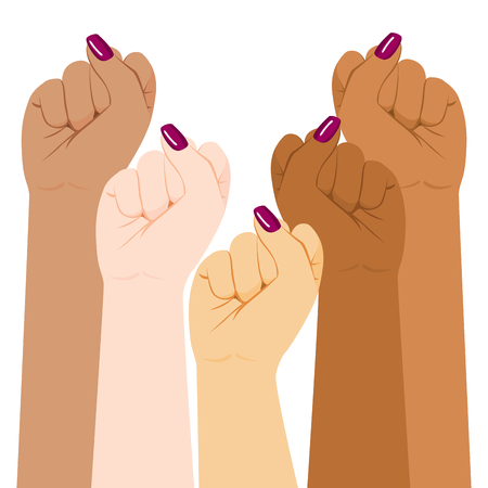 International woman day diversity raised fist strong girl power concept