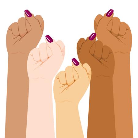 La diversità internazionale di giorno della donna ha sollevato il forte concetto di potere della ragazza del pugno