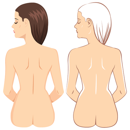 Brunette nude woman showing back view in two different drawing styles