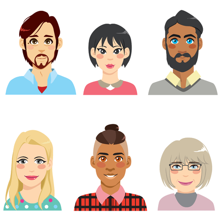 Group of people from diverse ethnic and different age men and women avatar collection