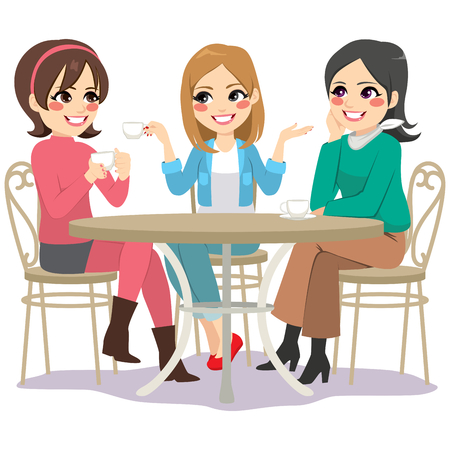 Three beautiful young women friends having coffee sitting at cafe table in street
