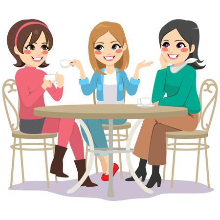 Trzech przyjaciół pięknych młodych kobiet o kawie, siedząc przy stoliku w kawiarni na ulicy