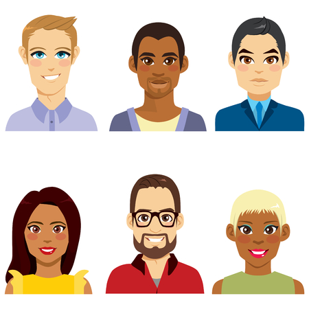 Group of people from diverse ethnicity men and women avatar collection
