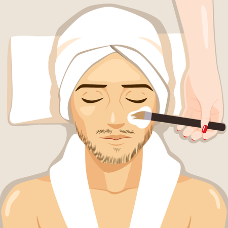 Man having spa treatment female hand applying natural facial white mask to clean face skin.