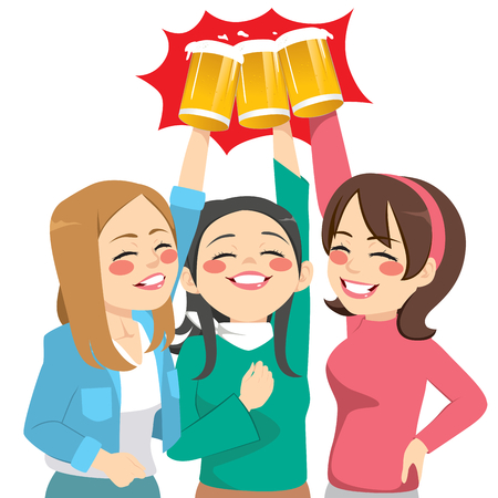 Three beautiful happy young women friends toasting with glass beer mug Vettoriali
