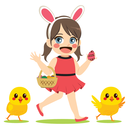 Cute little girl wearing bunny headband with basket full of colorful chocolate eggs and chicks friends on Easter day. Ilustração