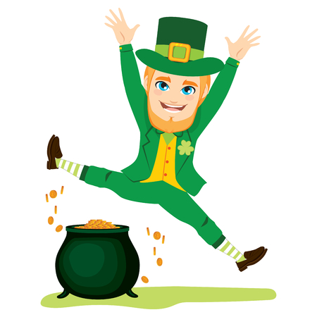 Young St Patrick man jumping happy with cauldron full of money.