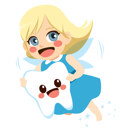 Cute blonde tooth fairy girl flying holding big tooth mascot character