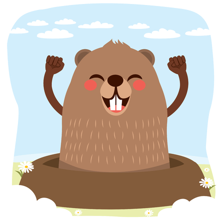 Happy cute groundhog celebrating groundhog Day with no shadow meaning winter end