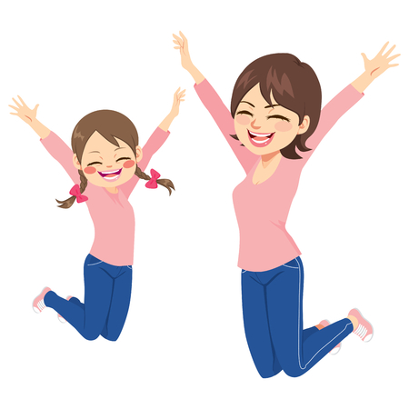 Beautiful mother and daughter jumping happy together with same outfit.