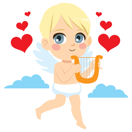 Cute little angel cupid with golden harp and red hearts flying on sky.