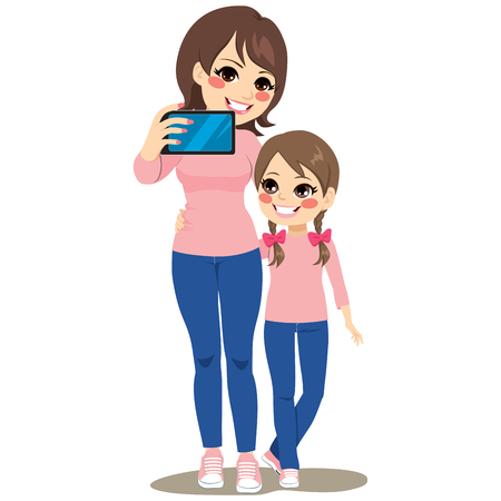Beautiful mother and daughter happy making selfie together with same pink shirt and blue jeans outfit