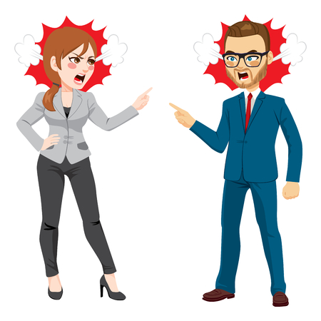 Businesswoman and businessman fighting conflict at work