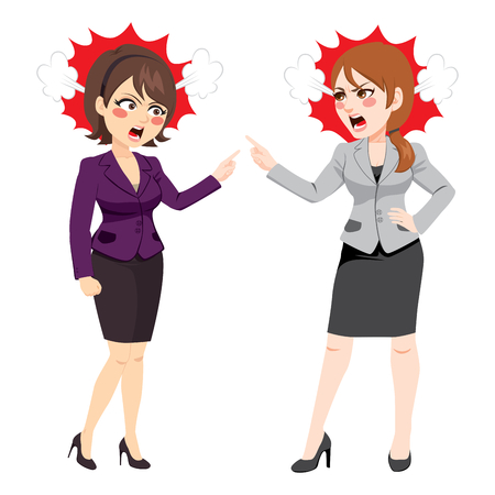Businesswomen angry arguing and fighting conflict at work