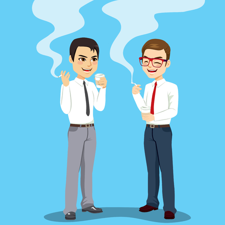 Two businessmen on coffee break time smoking cigarette