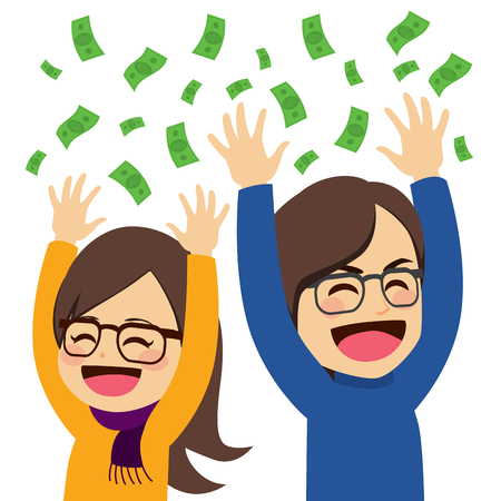 Cute young happy wealthy couple throwing money celebrating success concept Ilustração