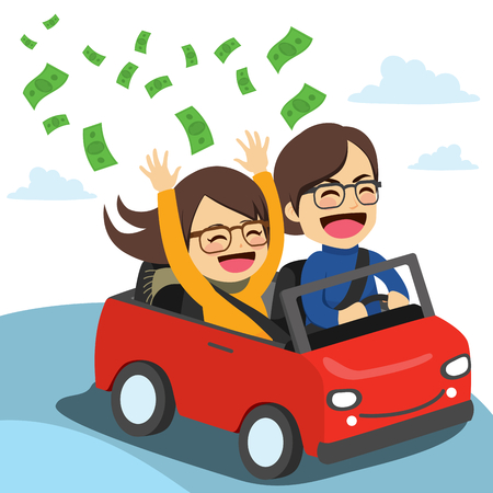 Young happy rich couple riding on red convertible throwing dollar banknotes flying from car