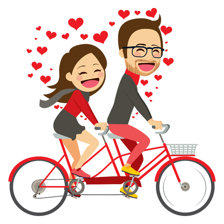 Cute young couple on Valentine day riding on tandem bicycle celebrating love together Vettoriali