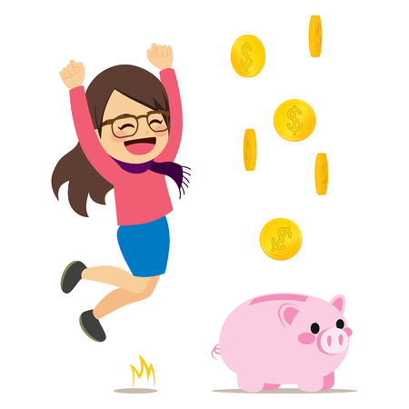 Young cute happy woman jumping with pink piggy bank and falling money coins Illustration