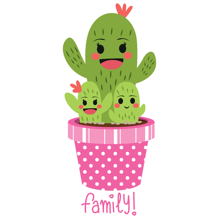 Cactus family with cute funny face on pink pot and family text