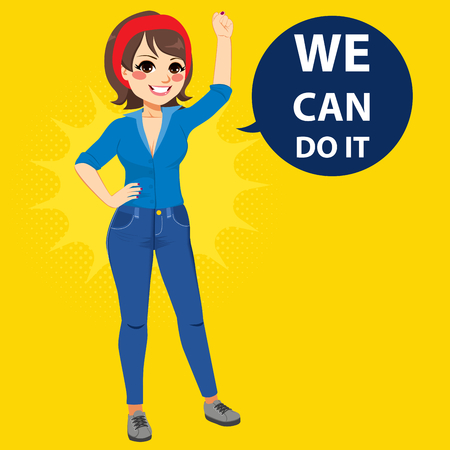 Beautiful young empowered woman wearing blue shirt and jeans with fist up attitude we can do it balloon text.