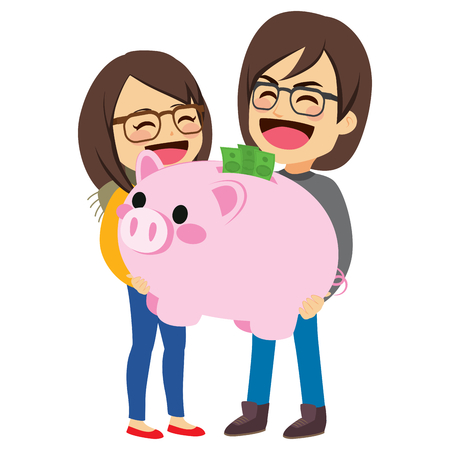 Young cute couple holding big pink piggy bank with green banknotes savings Illustration