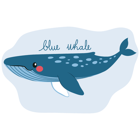Cute happy blue whale on water underwater with text.
