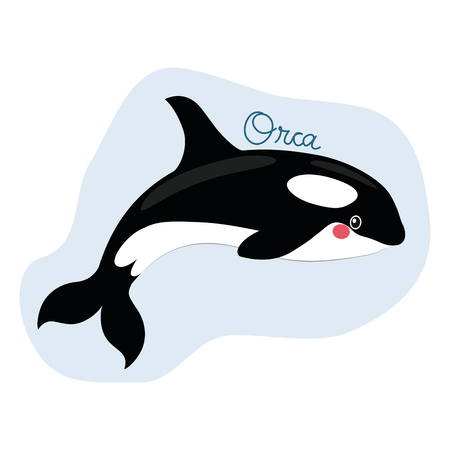 Funny sweet killer whale illustration