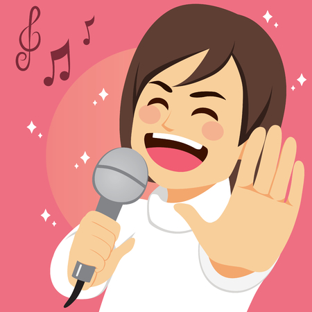 Happy young man singing song passionately with microphone Ilustracja