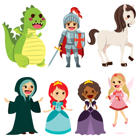 Collection of cute fairy tale characters for children book