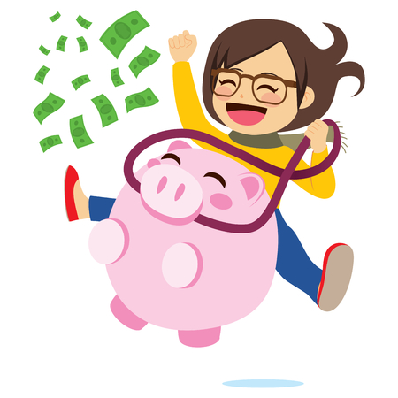 Young girl riding piggy bank full of green banknotes success money concept. Illustration